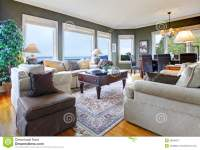 Classic Green Living Room With Nice Furniture Royalty Free ...