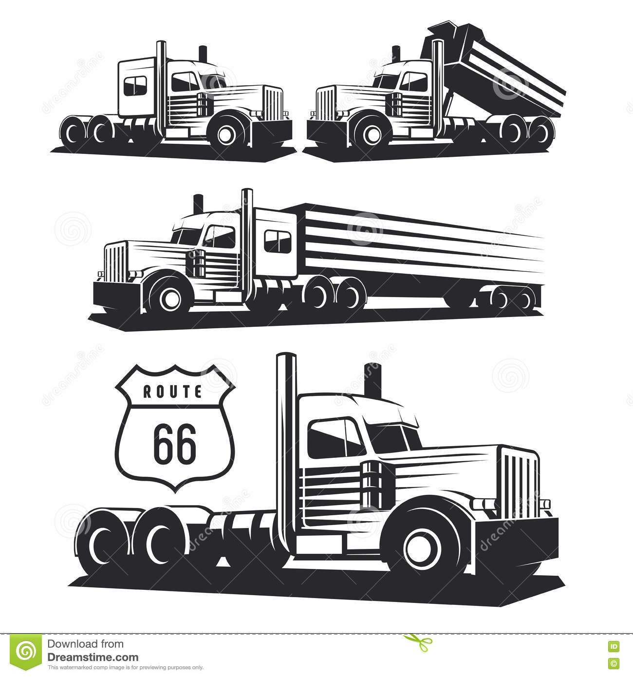 Set Of Classic Heavy Truck Logo, Emblems And Badges