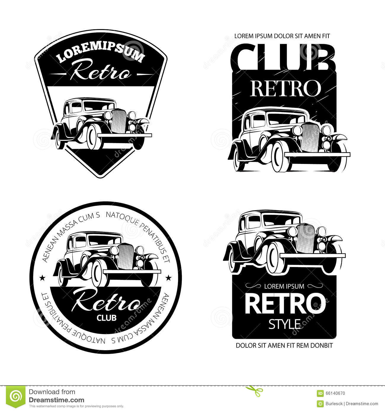 Classic Muscle Car Vector Labels Emblems And Badges Set Stock Vector
