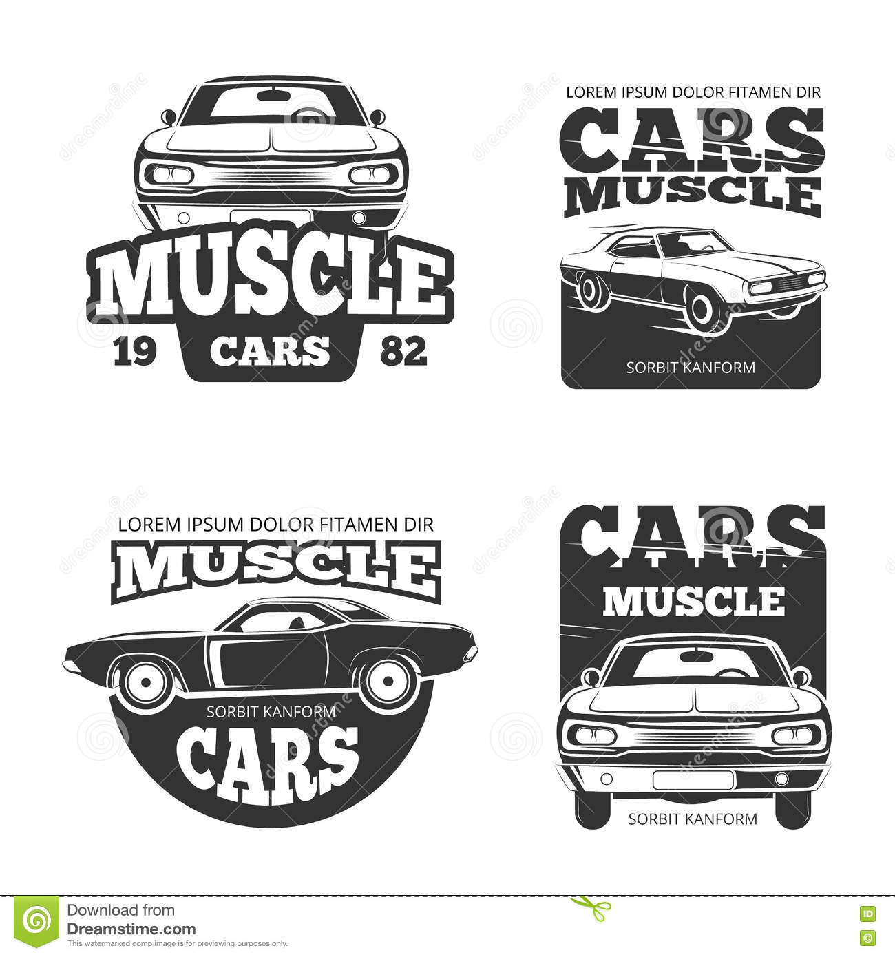 Classic Muscle Car Vintage Vector Labels Logo Emblems