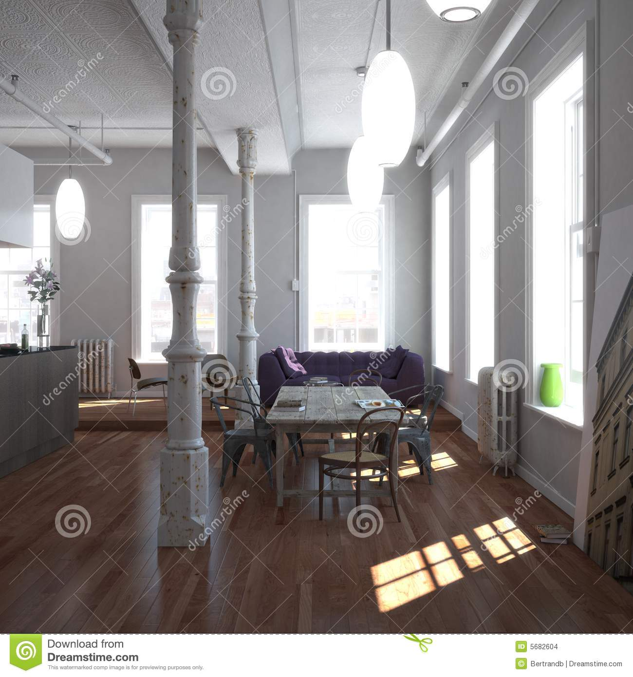 oak kitchen table and chairs remodel orange county classic new-york loft stock photo. image of comfortable ...