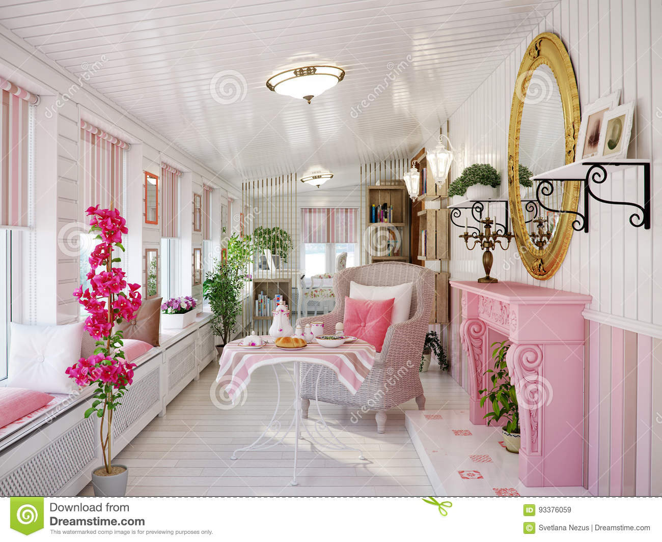 veranda living rooms room and dry classic traditional provence white pink colors stock rest interior design with wicker chairs fireplace wooden wall panels