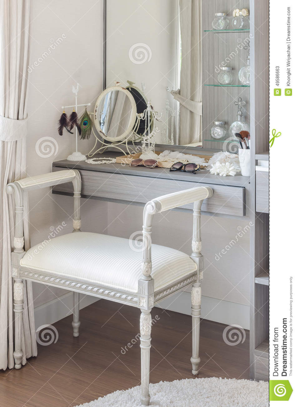 Classic White Chair With Dressing Table Stock Photo