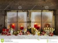 Classical Christmas Wooden Window Decoration With Red ...