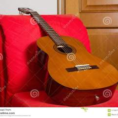 Classical Guitar Chair Leather Theater Chairs On A Red Easy Stock Photo Image Of
