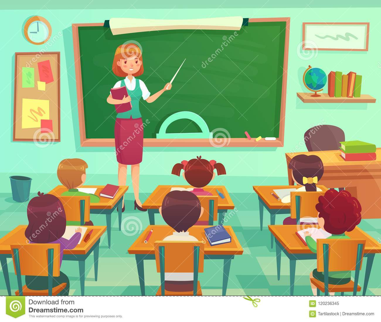 Classroom With Kids Teacher Or Professor Teaches Students