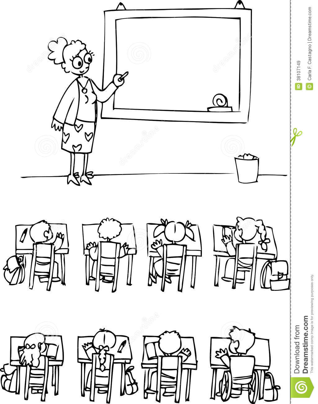 Coloring Classroom With Pupils Royalty Free Stock Images