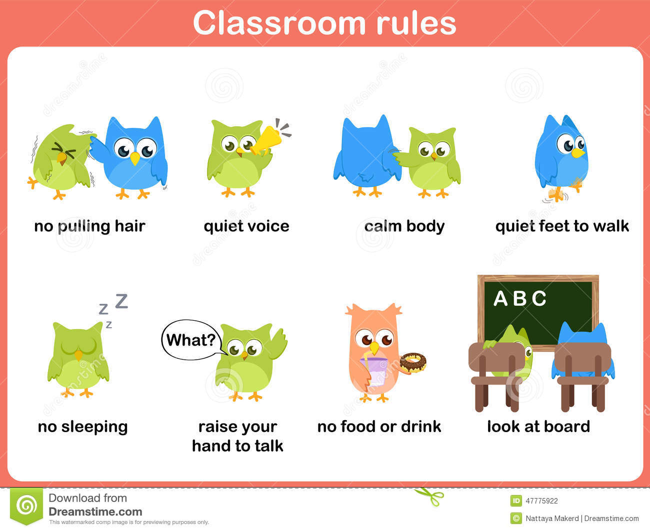 Classroom Rules For Kids Stock Vector Illustration Of Calm