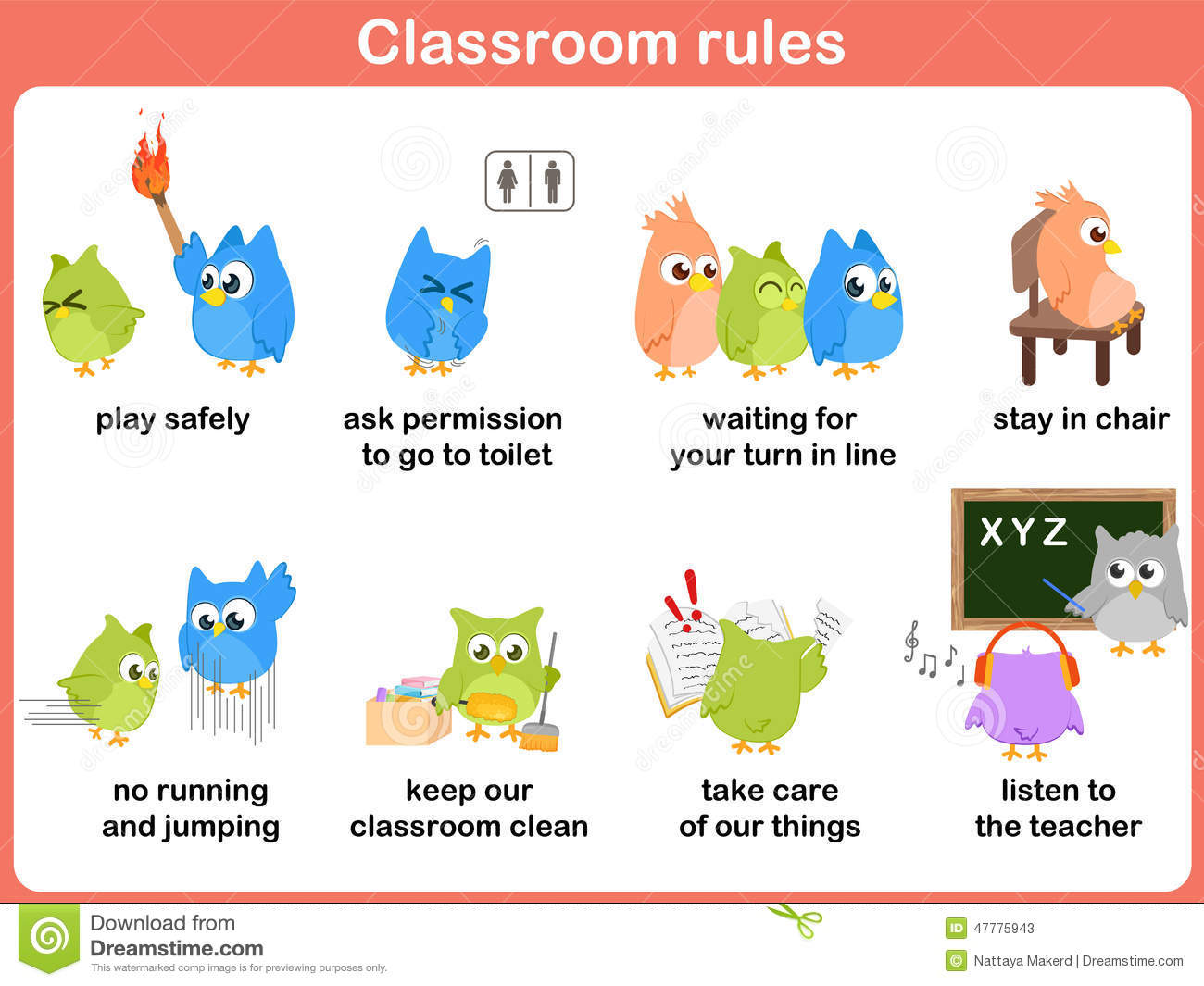 Classroom Rules For Kids Stock Vector