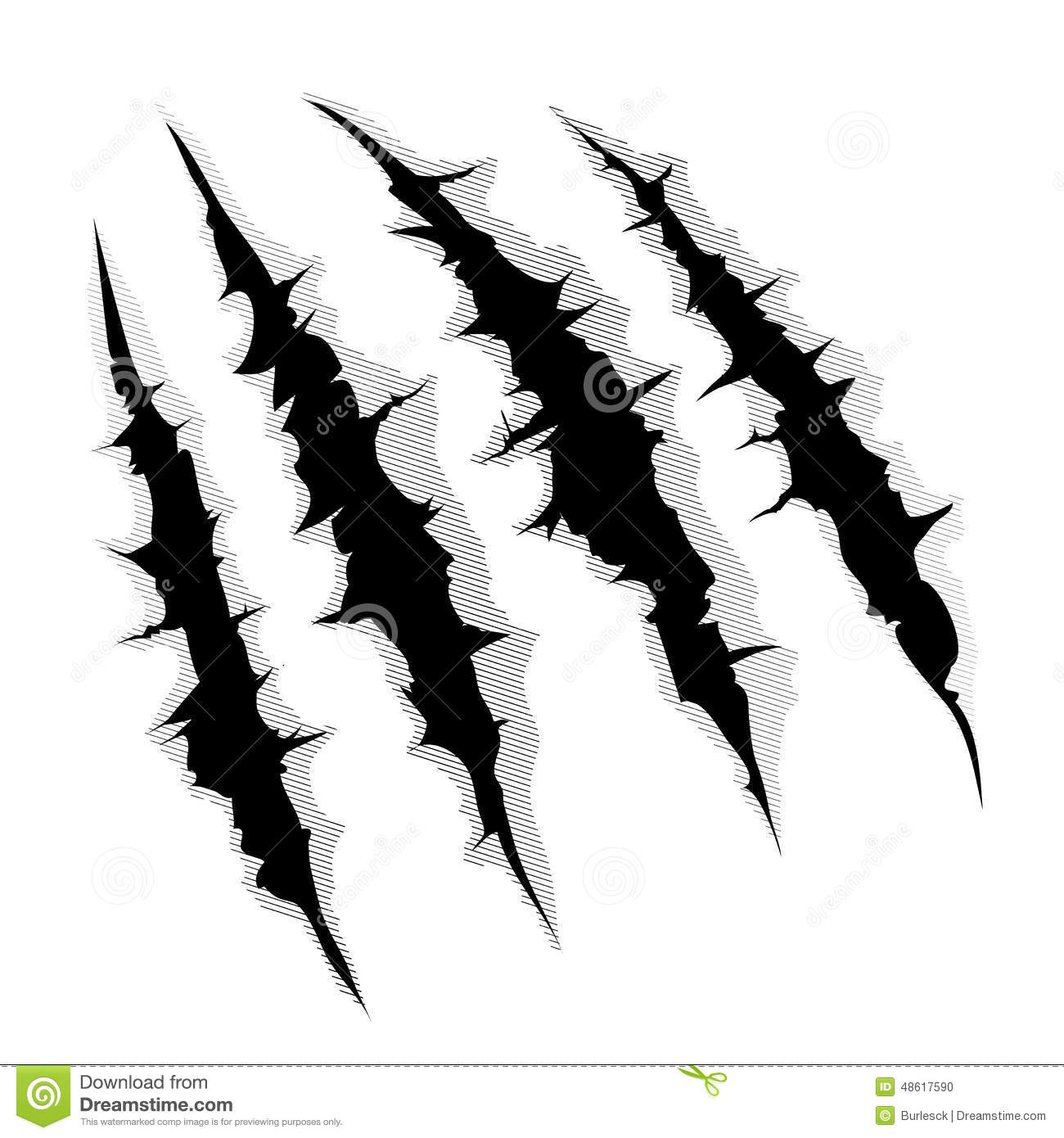 hight resolution of an illustration of a monster claw or hand scratch or rip through white background