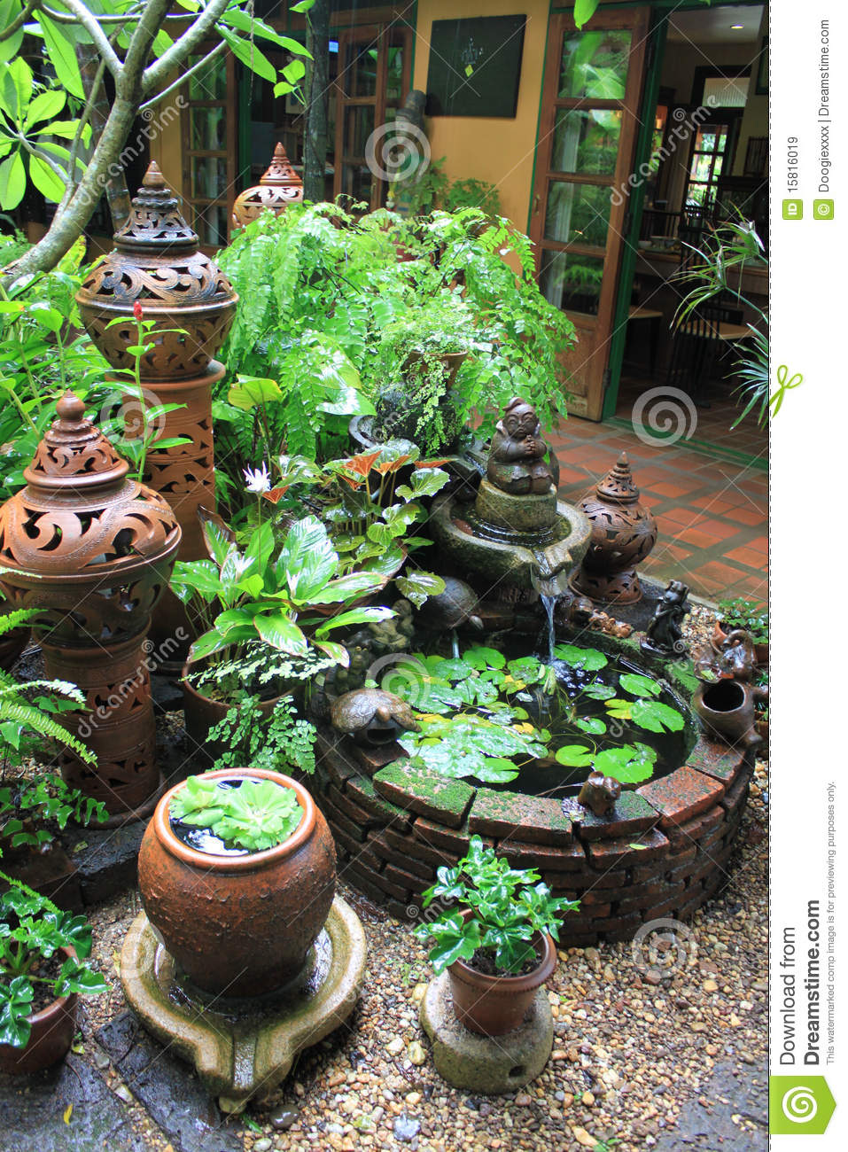 Clay Pottery In Botanical Garden Setting Royalty Free