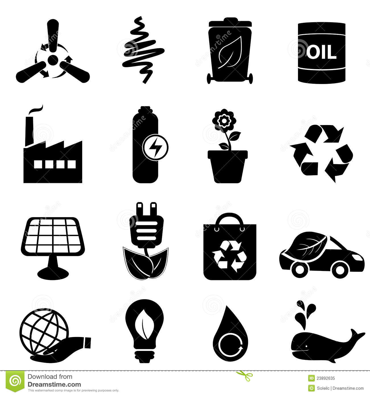 Clean Energy And Environment Icons Stock Vector