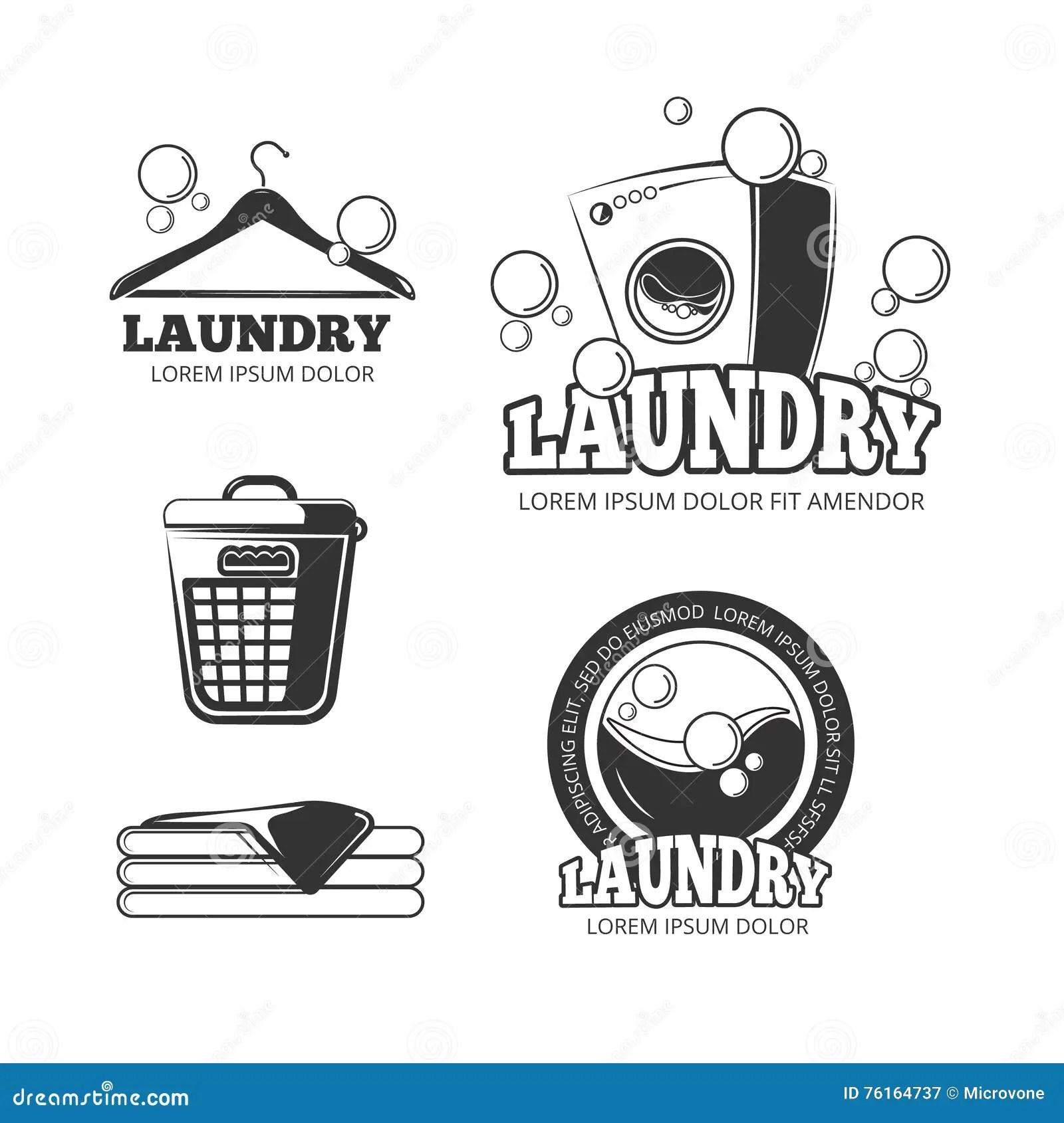 Clean Laundry Washing Vintage Vector Labels Emblems