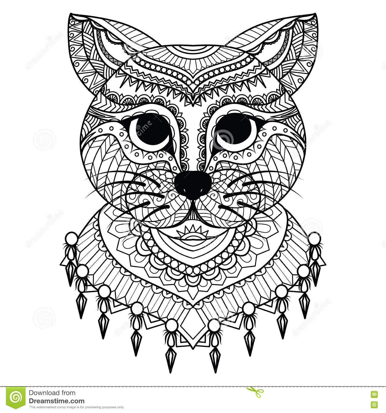 Clean Lines Doodle Art Of Cute Cat For Coloring Book For