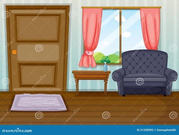 Clean Living Room Stock Vector. Illustration Of Door