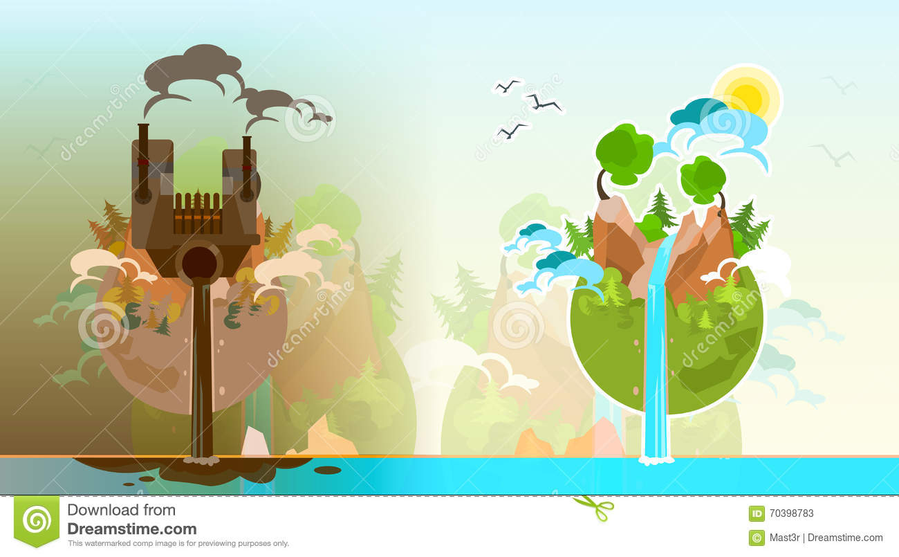 Clean And Polluted Earth Planet Globe Stock Vector  Image