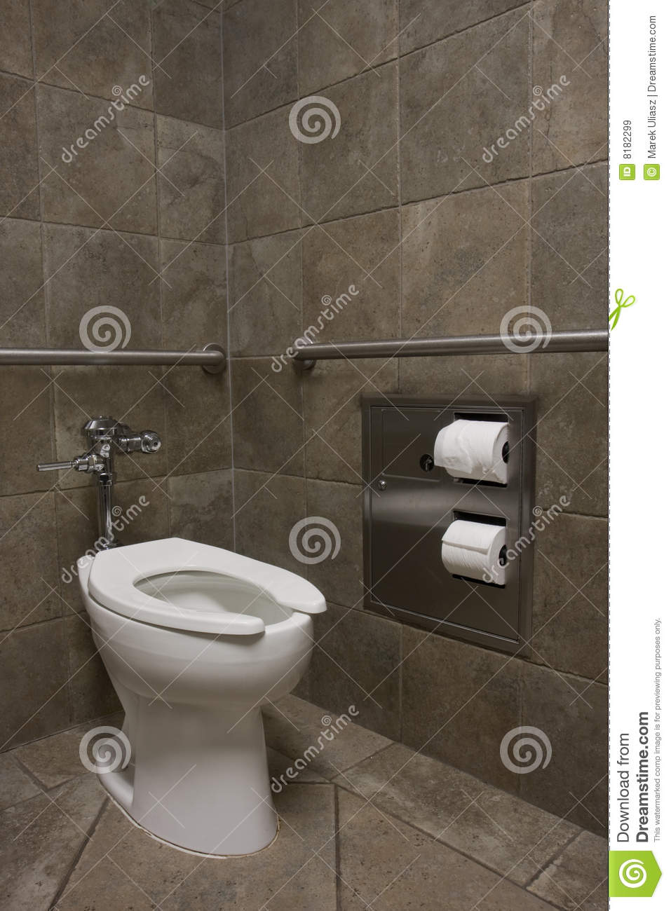 Clean White Toilet In A Public Restroom Royalty Free Stock