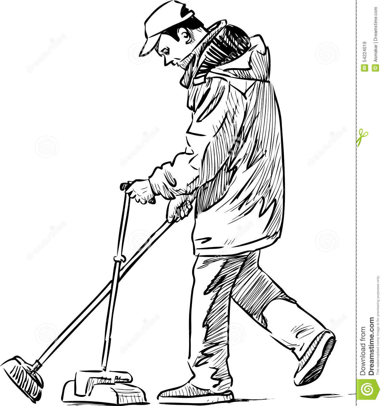 Cleaner on a city street stock vector. Illustration of