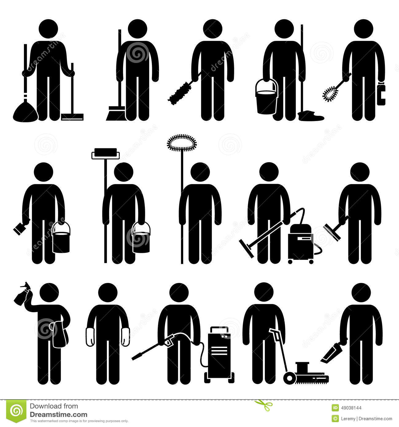 Cleaner Man With Cleaning Tools And Equipments Icons Stock