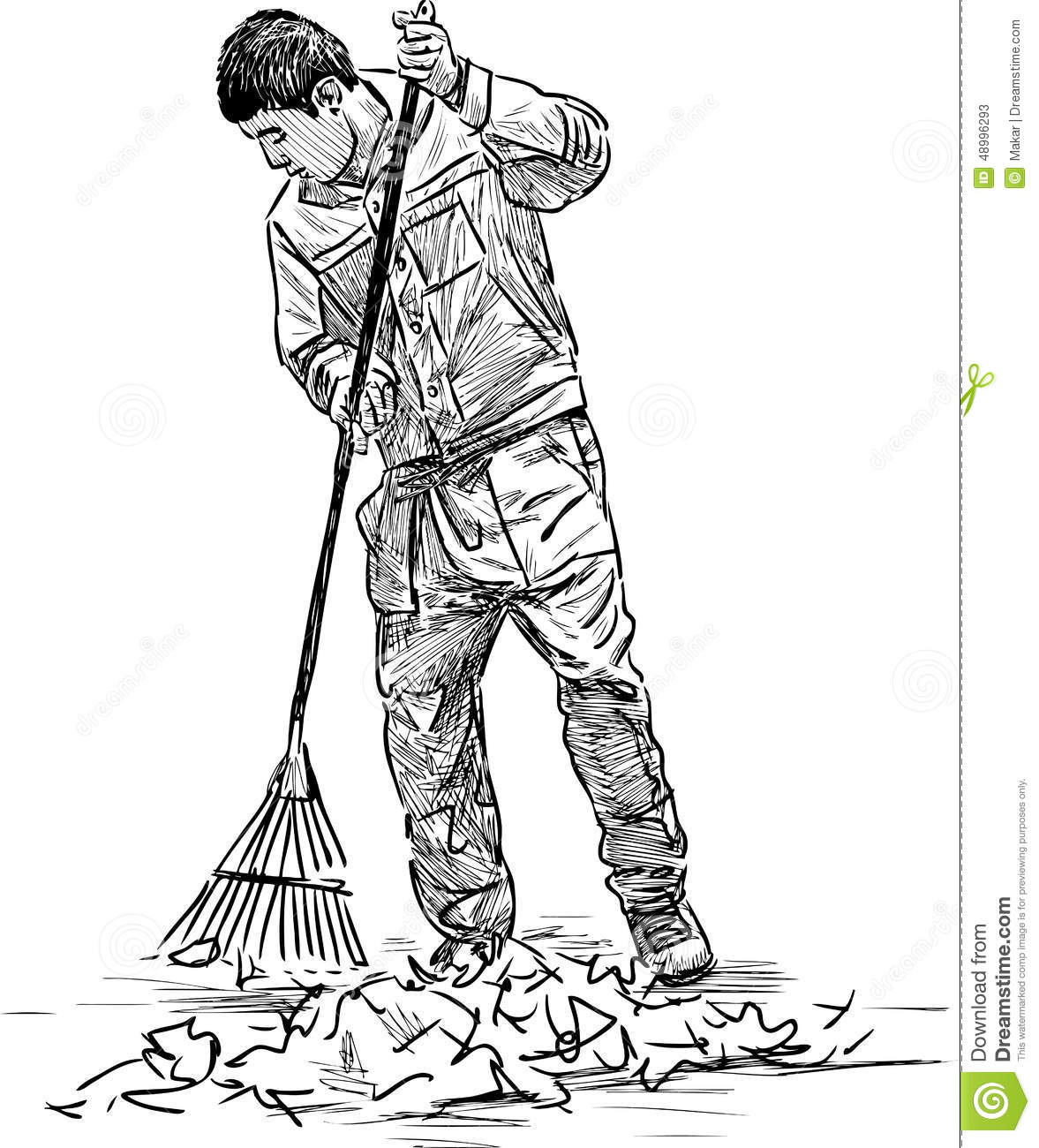 Cleaner in the park stock vector. Image of broom, people