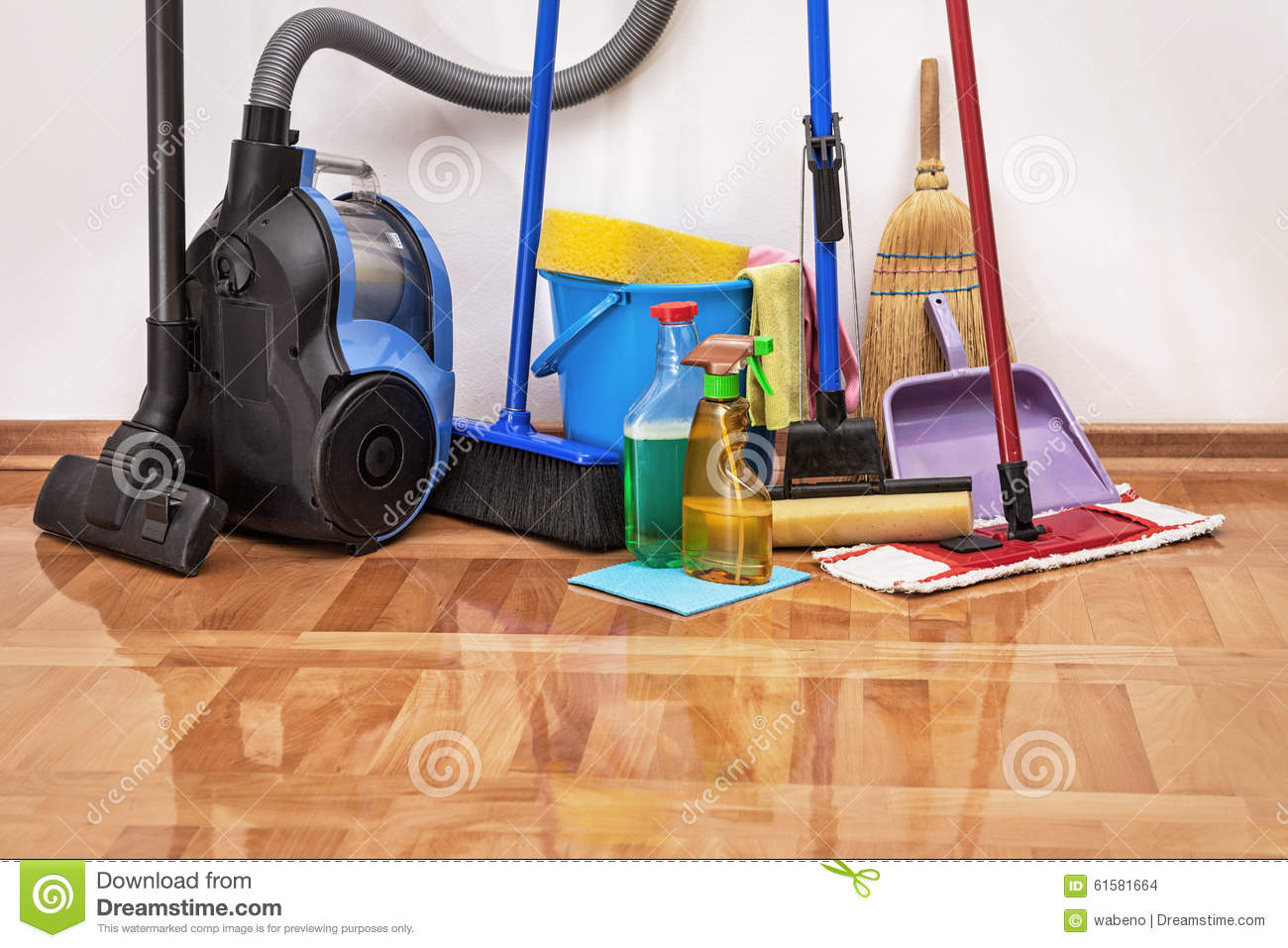 Cleaning Accessories On Floor Room Stock Photo  Image 61581664