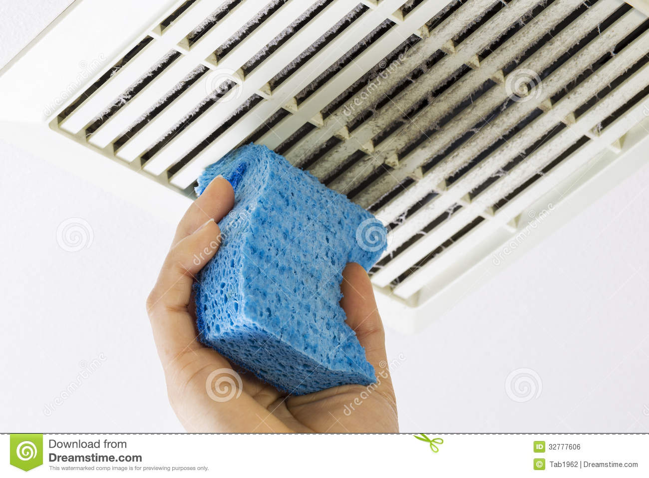 Bathroom Fan Cover Cleaning Bathroom Fan Vent Cover With Sponge Royalty Free