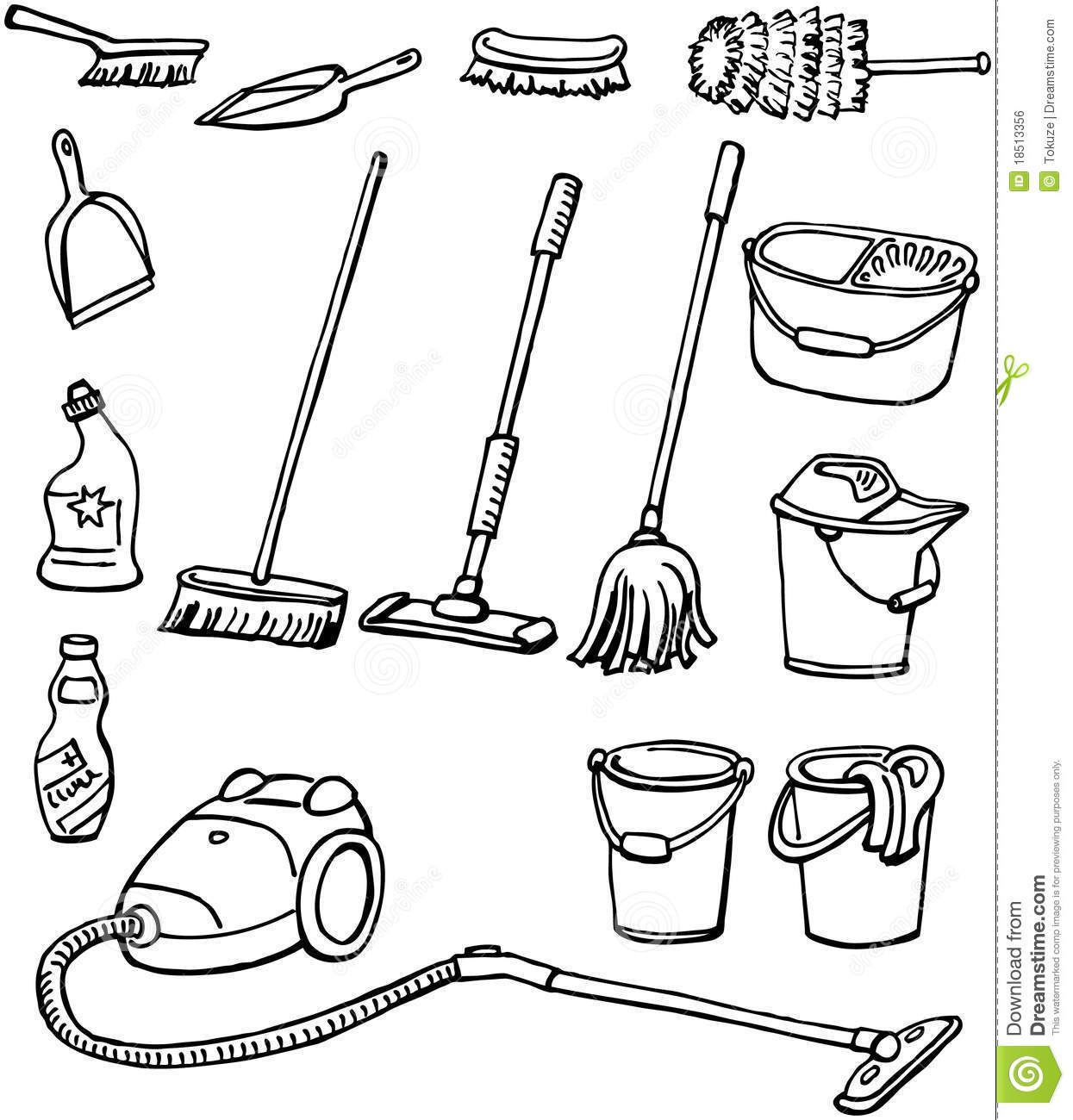 Cleaning Equipment Stock Vector Illustration Of Brush