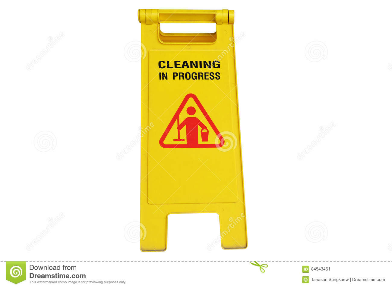 Cleaning In Process And Caution Wet Floor Symbol Stock