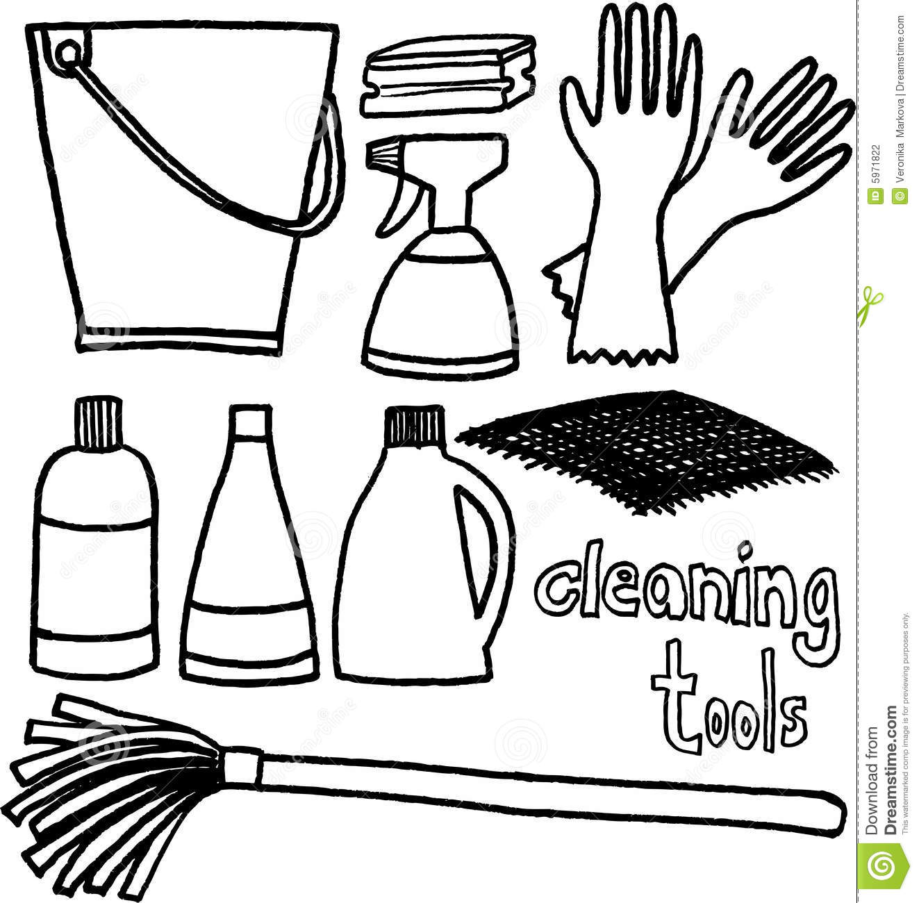 Cleaning tools stock vector. Image of swab, articles