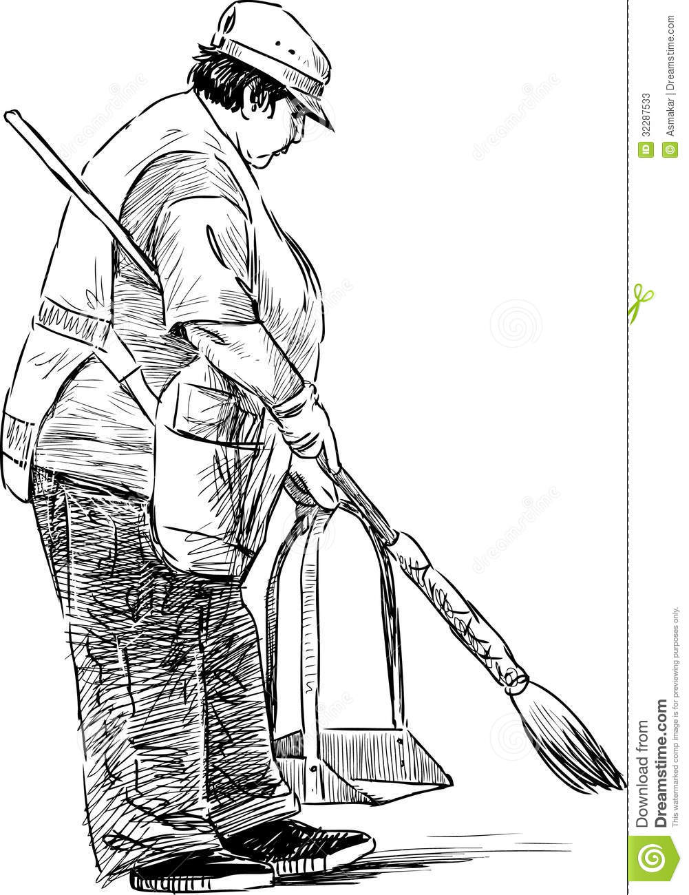 Cleaning woman stock vector. Illustration of keeper, yard