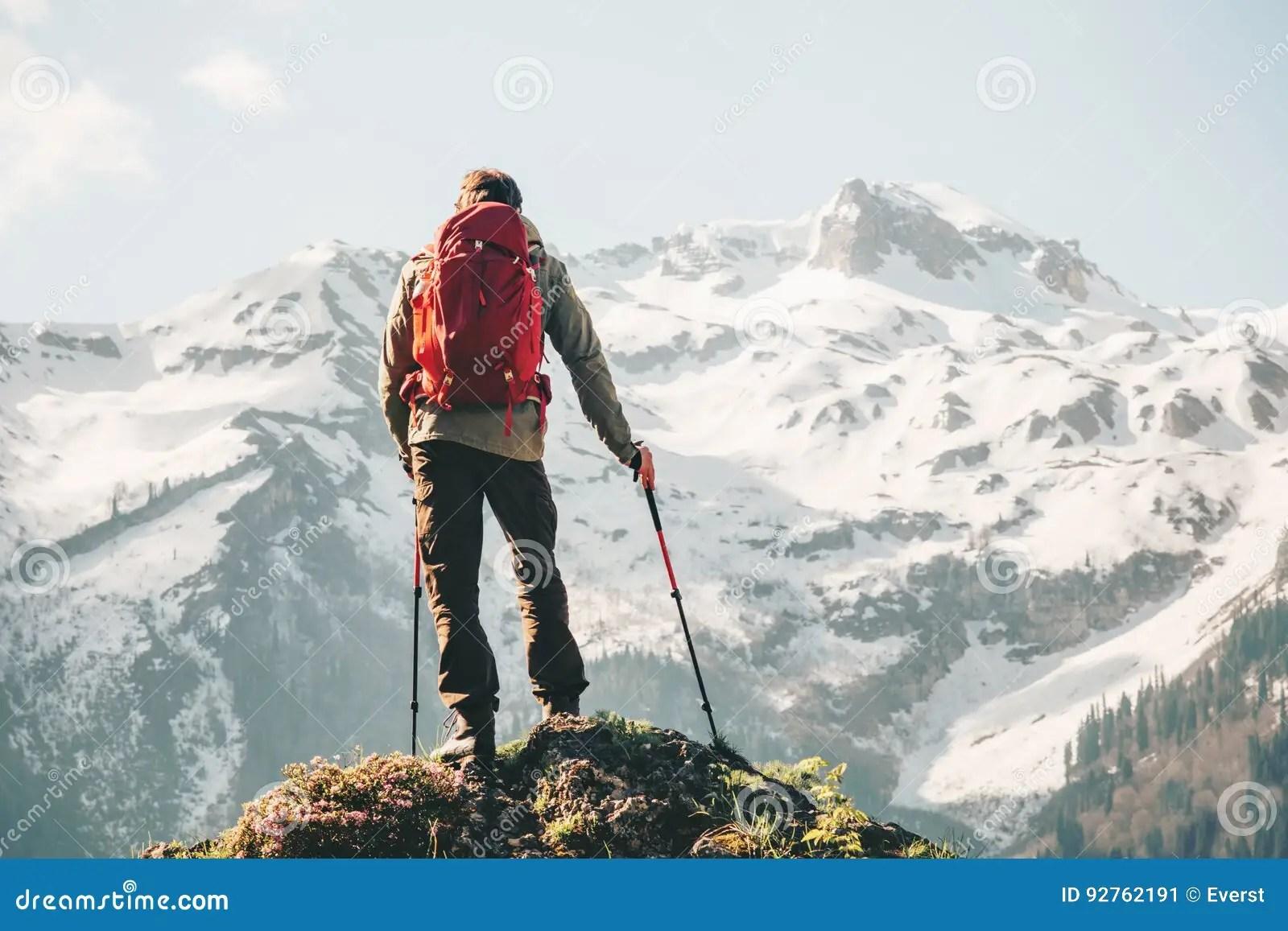 Climber Man Hiking With Backpack Stock Image  CartoonDealercom 92762191