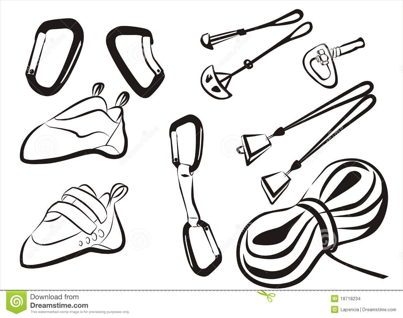 Climbing Equipment Goods And Stuff Stock Vector