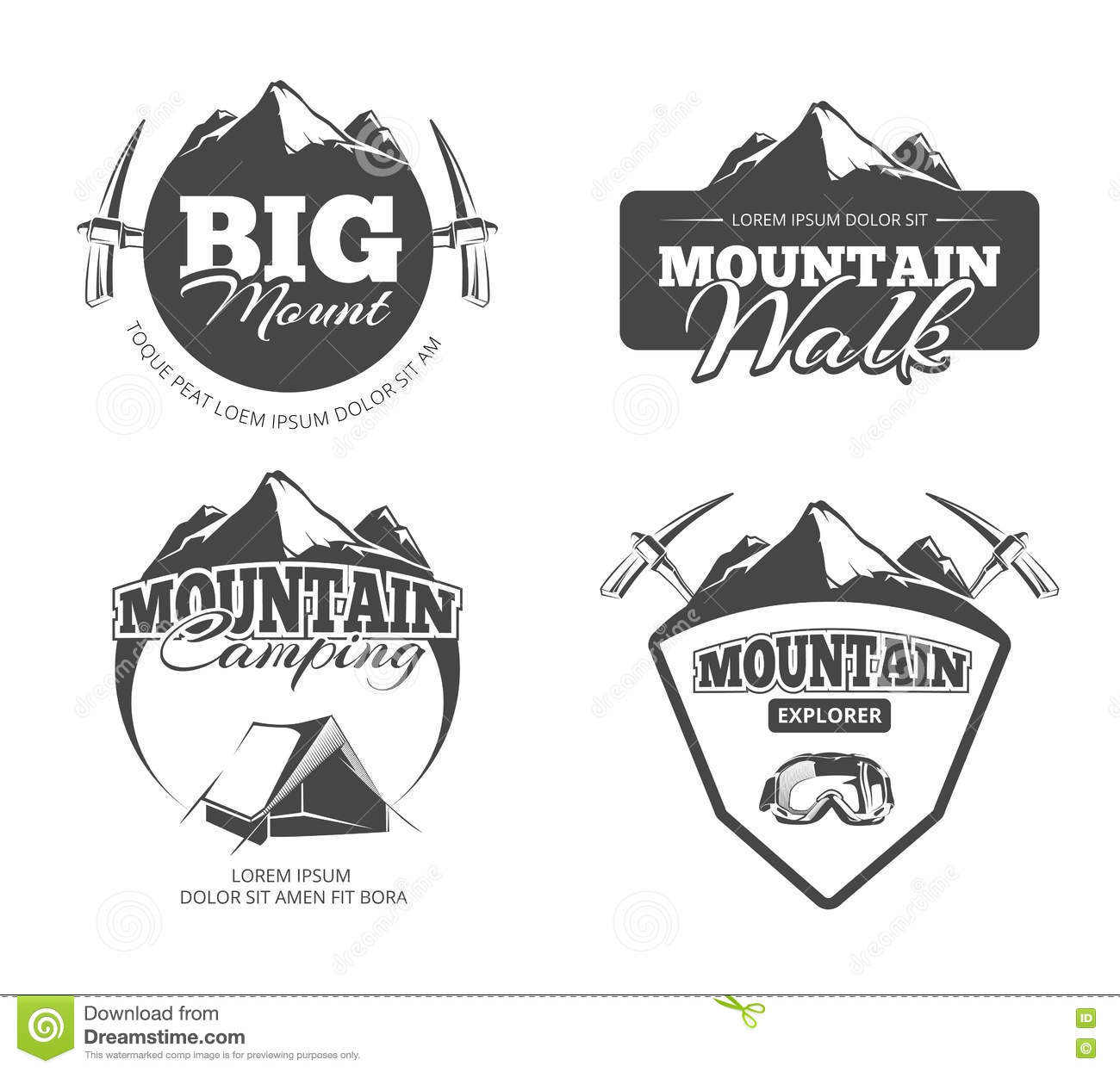 Set Of Vector Badges Camping And Hiking Royalty Free Stock
