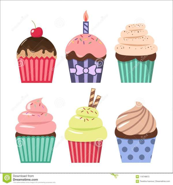 clip art cartoon cupcake set. colorful