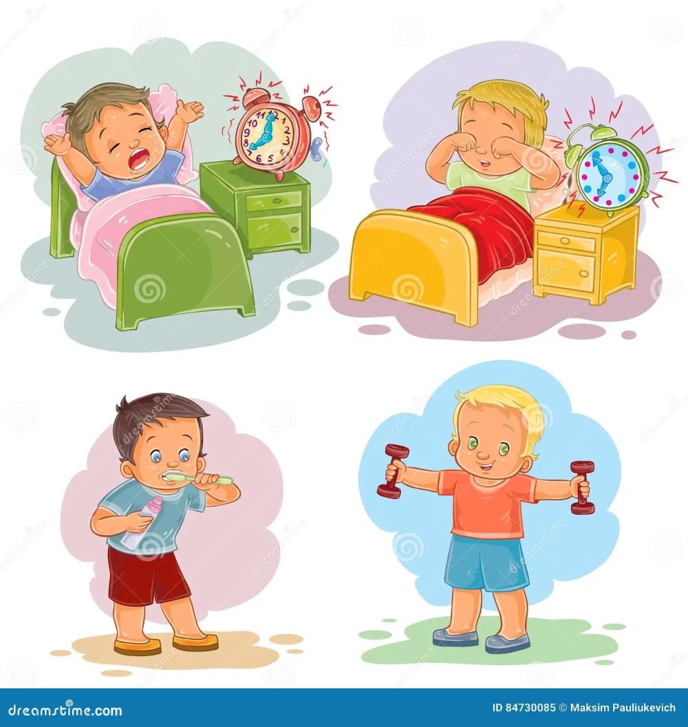 medium resolution of clip art illustrations of little children wake up in the morning