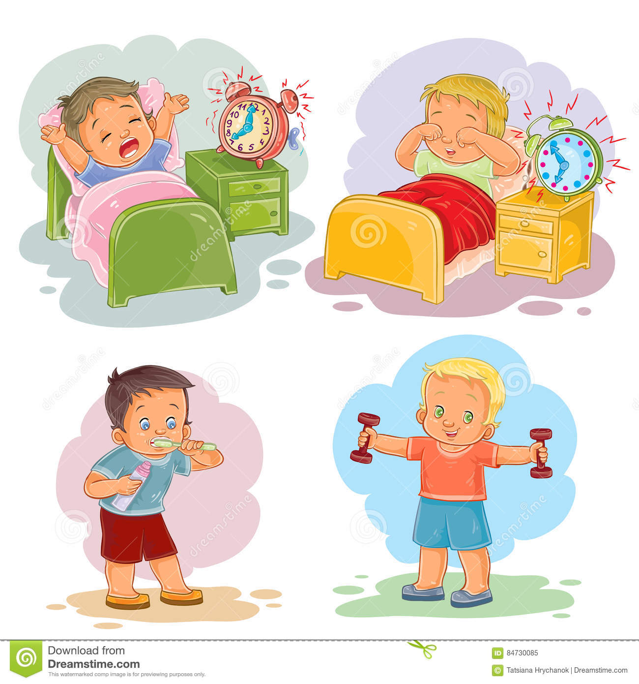 hight resolution of clip art illustrations of little children wake up in the morning