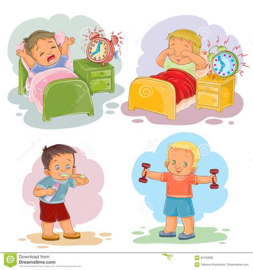 small resolution of clip art illustrations of little children wake up in the morning
