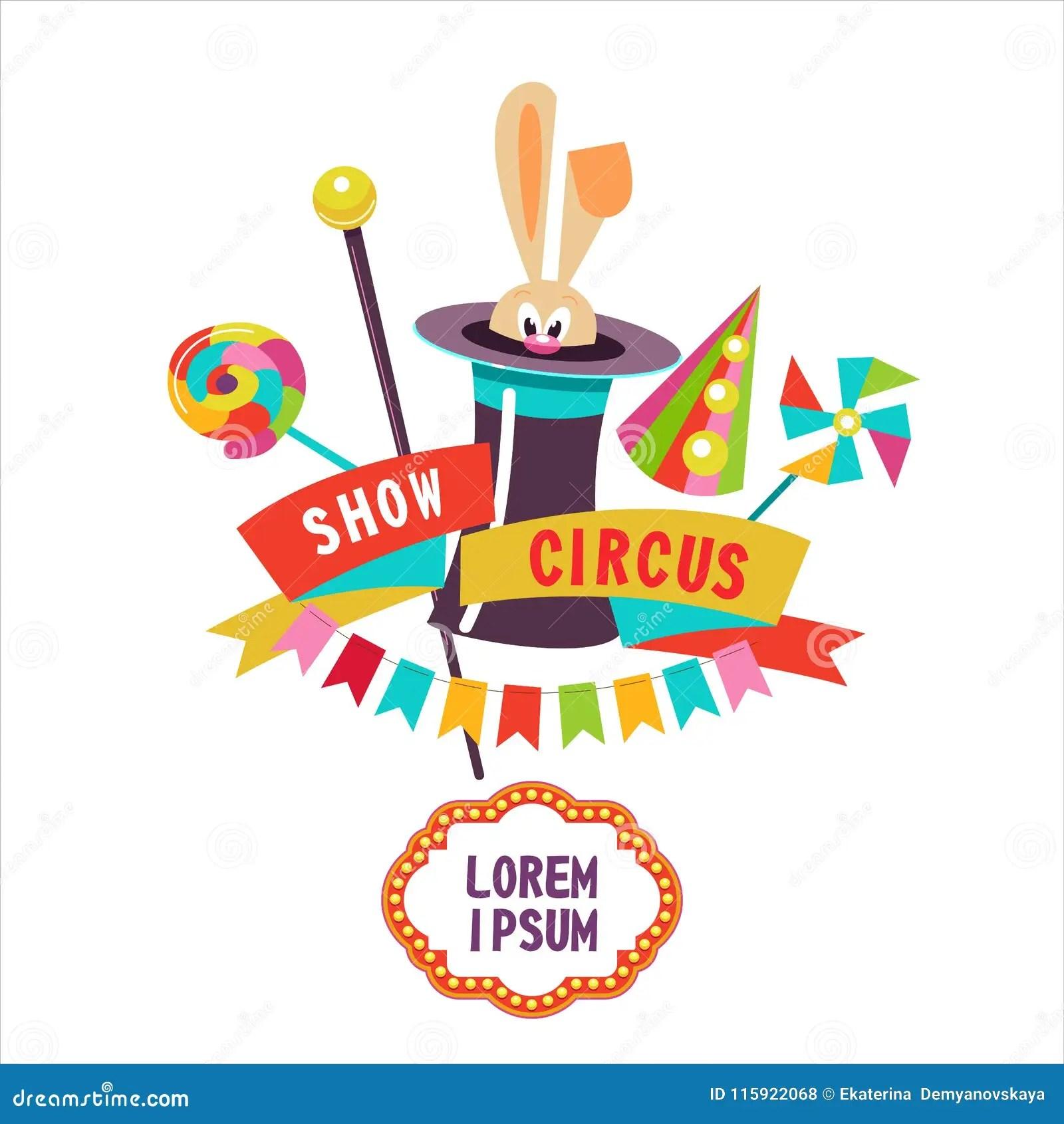 hight resolution of circo conejo en el sombrero ilustraci n del vector el cartel del circo composici n de cliparts con el lugar para el texto aislado en un fondo blanco