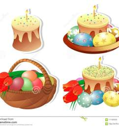 clip art set of easter baskets with easter cakes and a burning candle on a white background isolated painted eggs bouquet of tulips  [ 1300 x 1089 Pixel ]