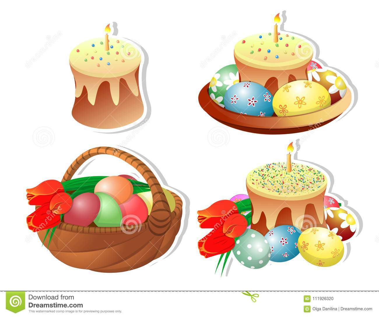hight resolution of clip art set of easter baskets with easter cakes and a burning candle on a white background isolated painted eggs bouquet of tulips