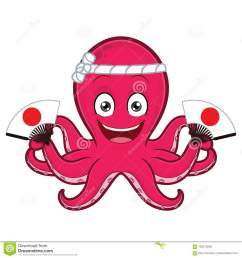 clipart picture of an octopus cartoon character holding japanese fan [ 1300 x 1390 Pixel ]