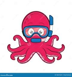 clipart picture of an octopus scuba diver cartoon character [ 1300 x 1390 Pixel ]