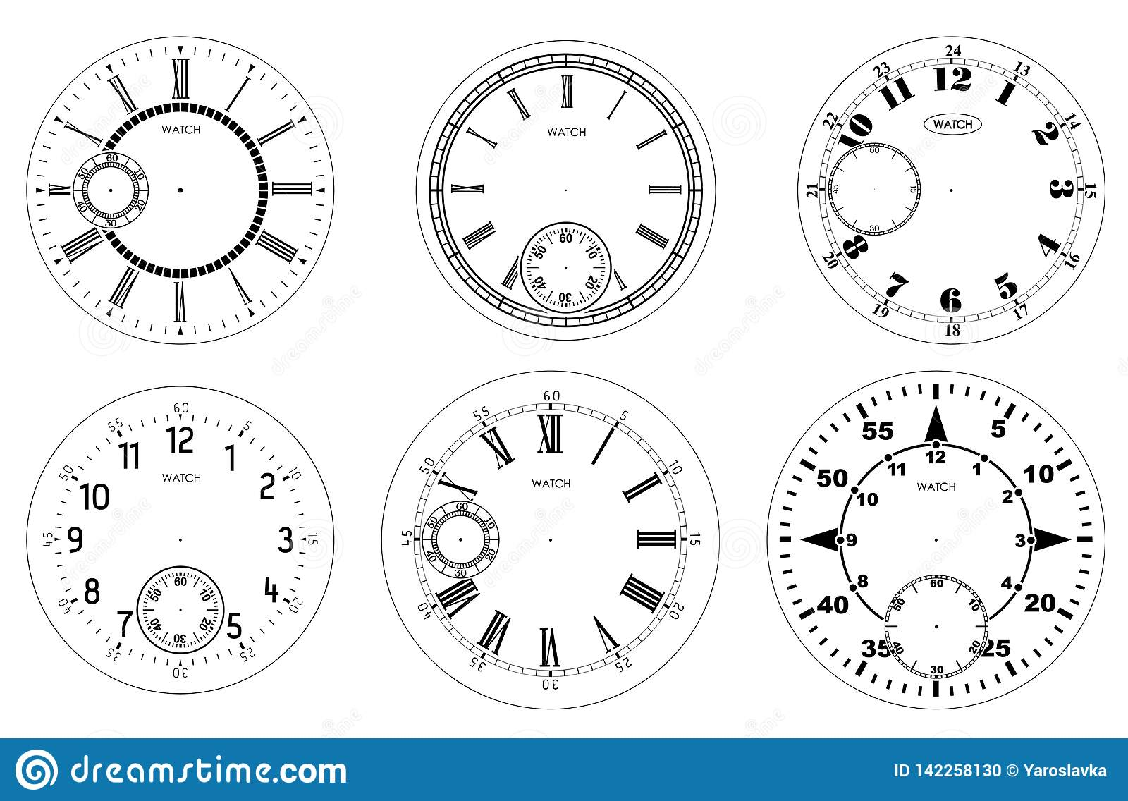 Clock Face Blank Set Isolated On White Background Vector