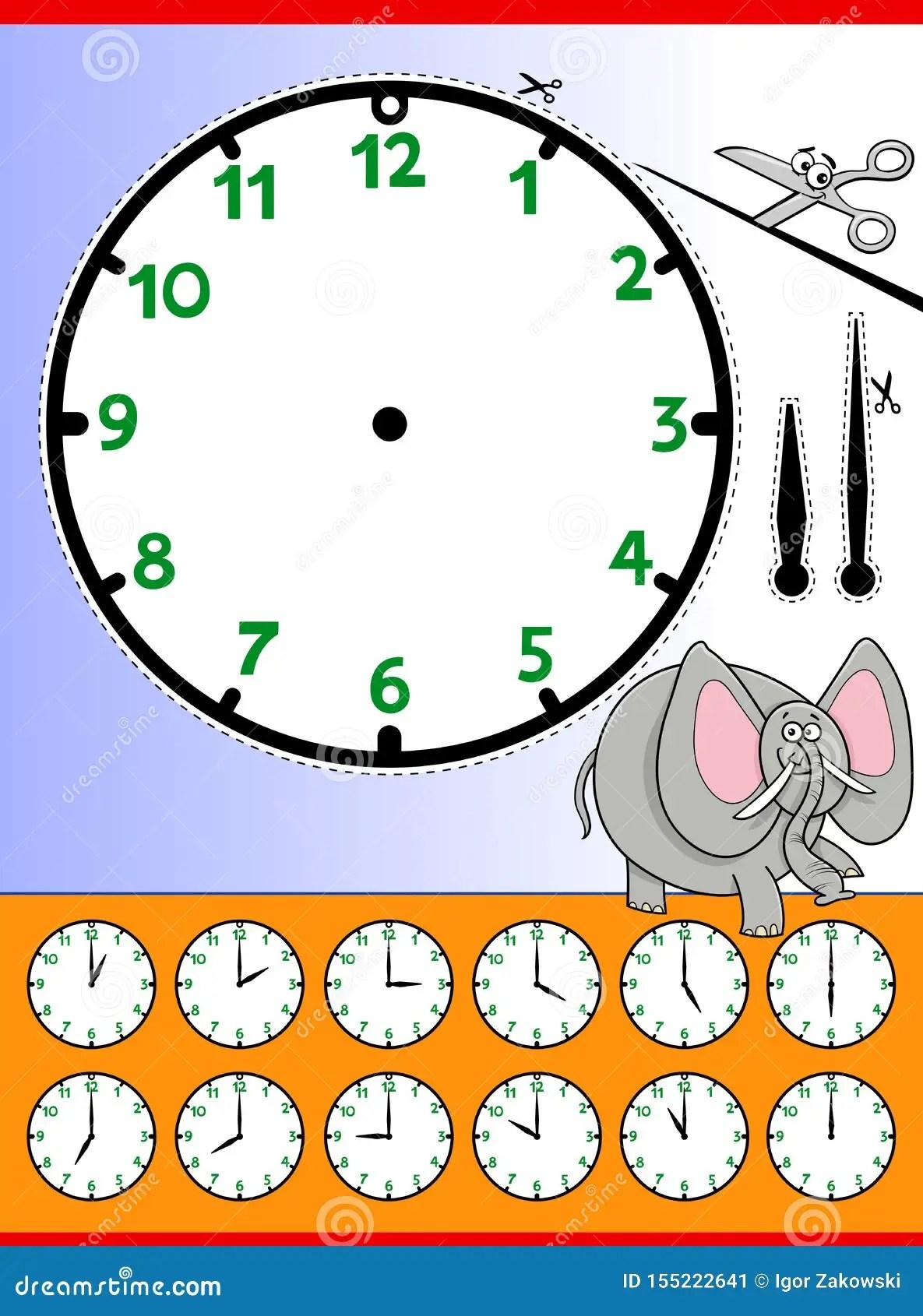 Clock Face Cartoon Educational Worksheet Stock Vector