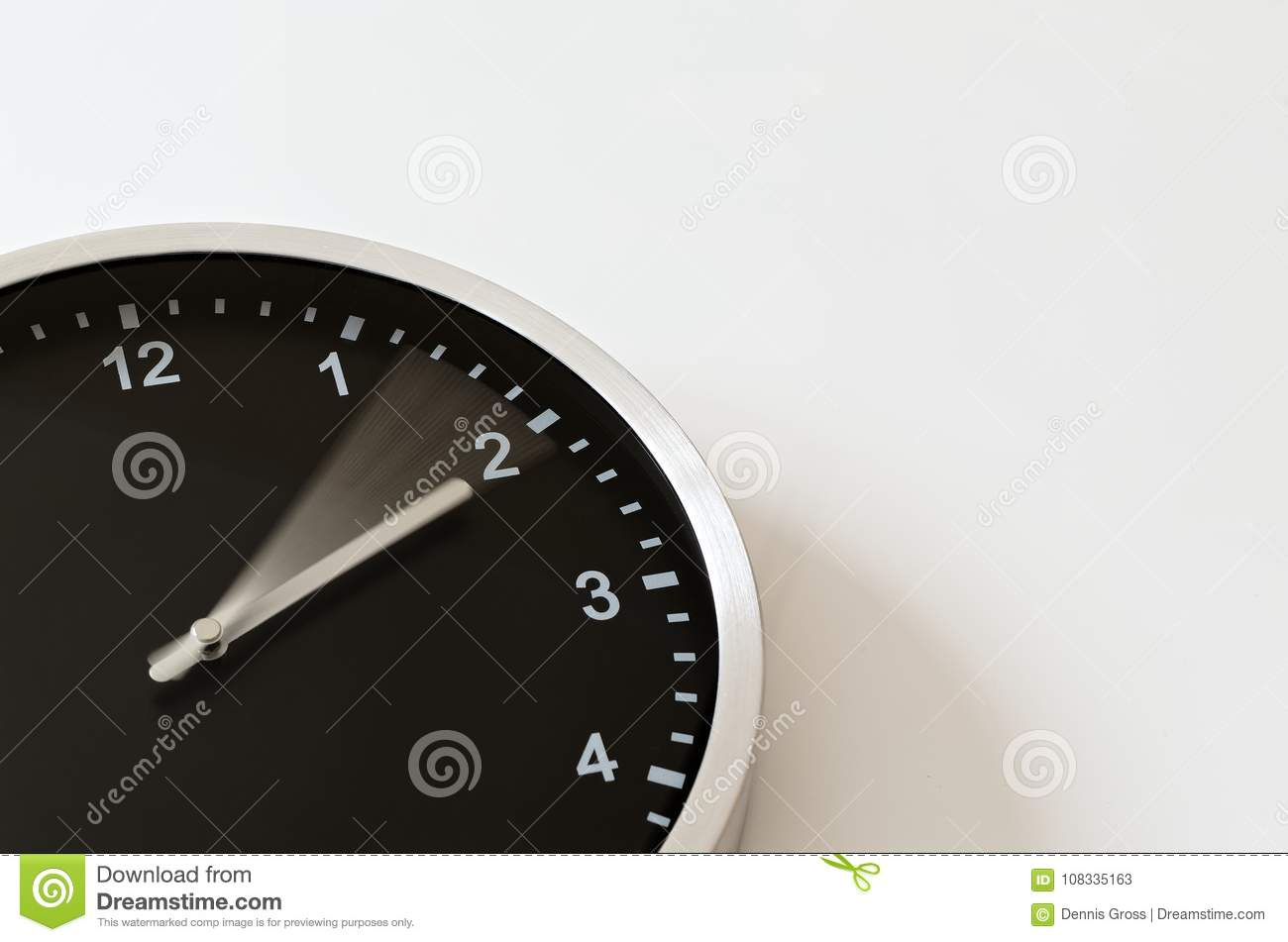 Clock Hand Moving To Quarter Past Two Stock Image