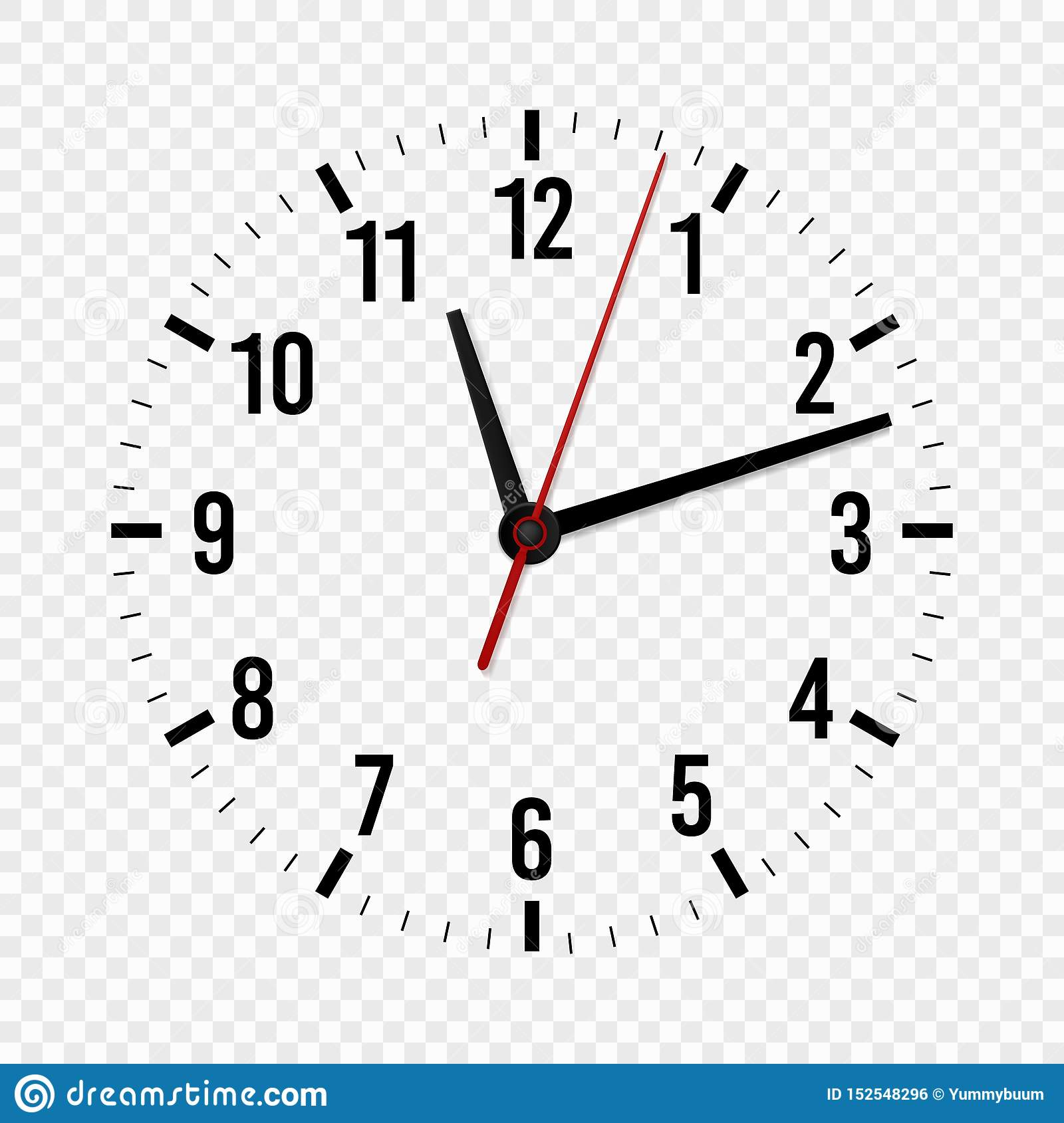 Clock Mockup Hour Minute And Second Hands With A Time