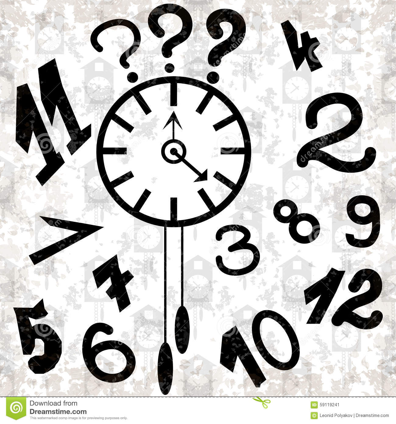 Clock And Numbers On A White Background Grunge Effect