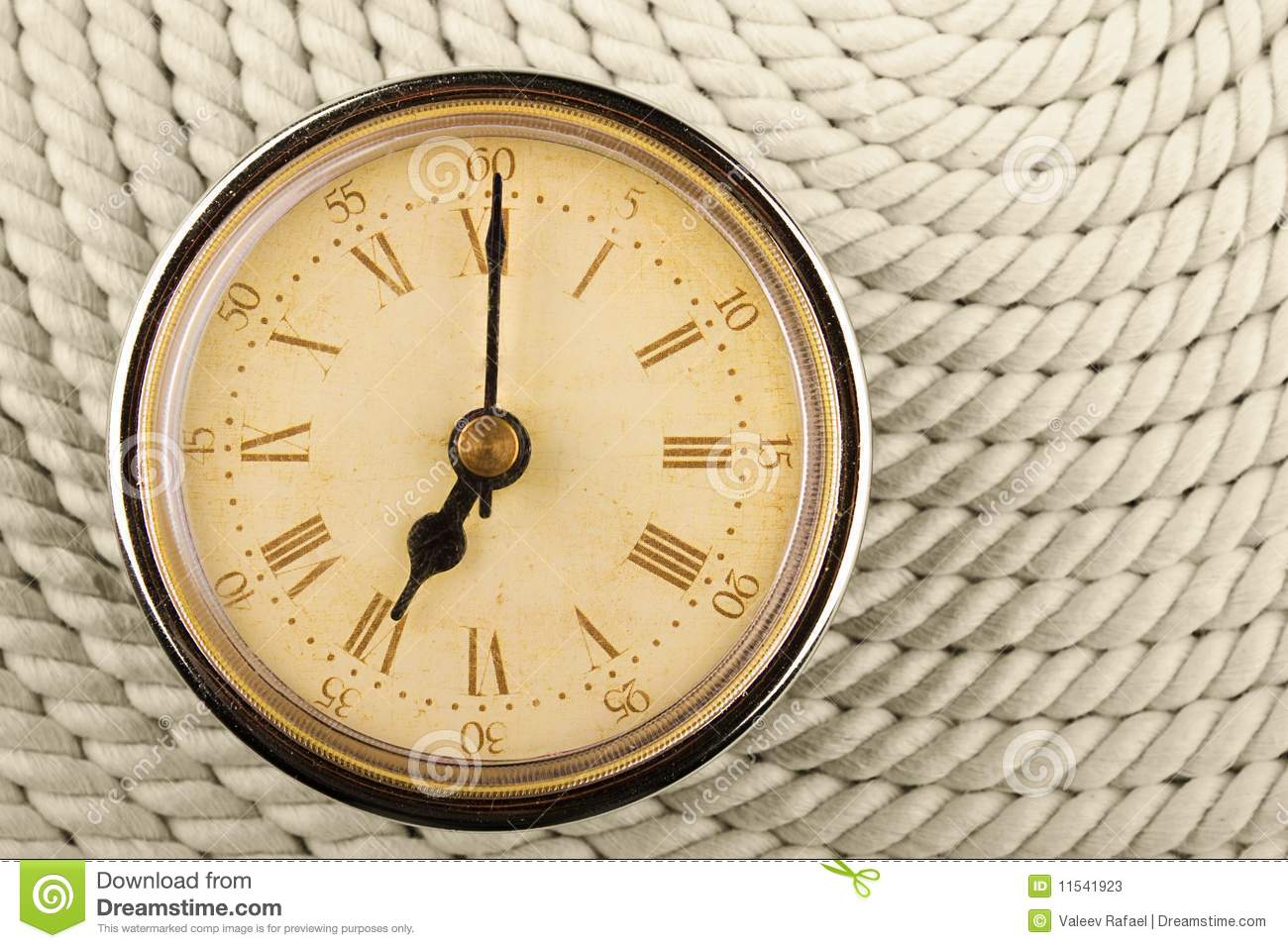 Clock With Roman Numerals Time Seven Hours Stock Image