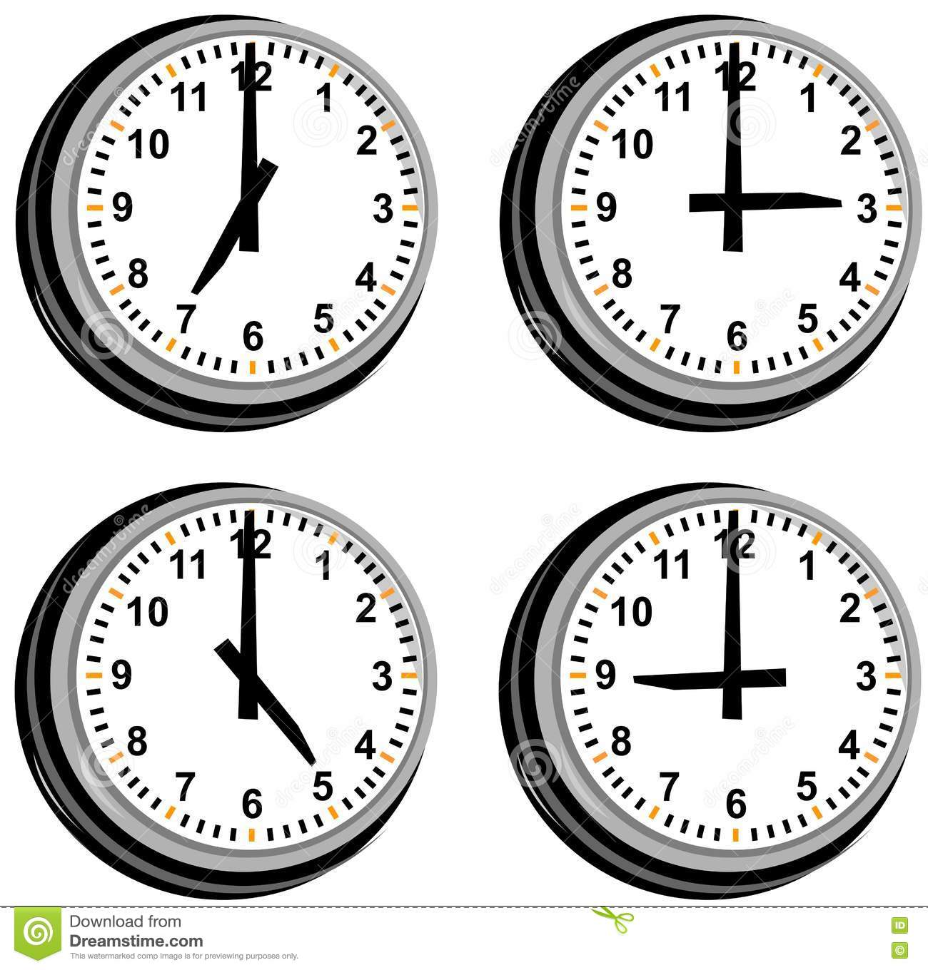 Clock Showing Different Times Stock Illustration