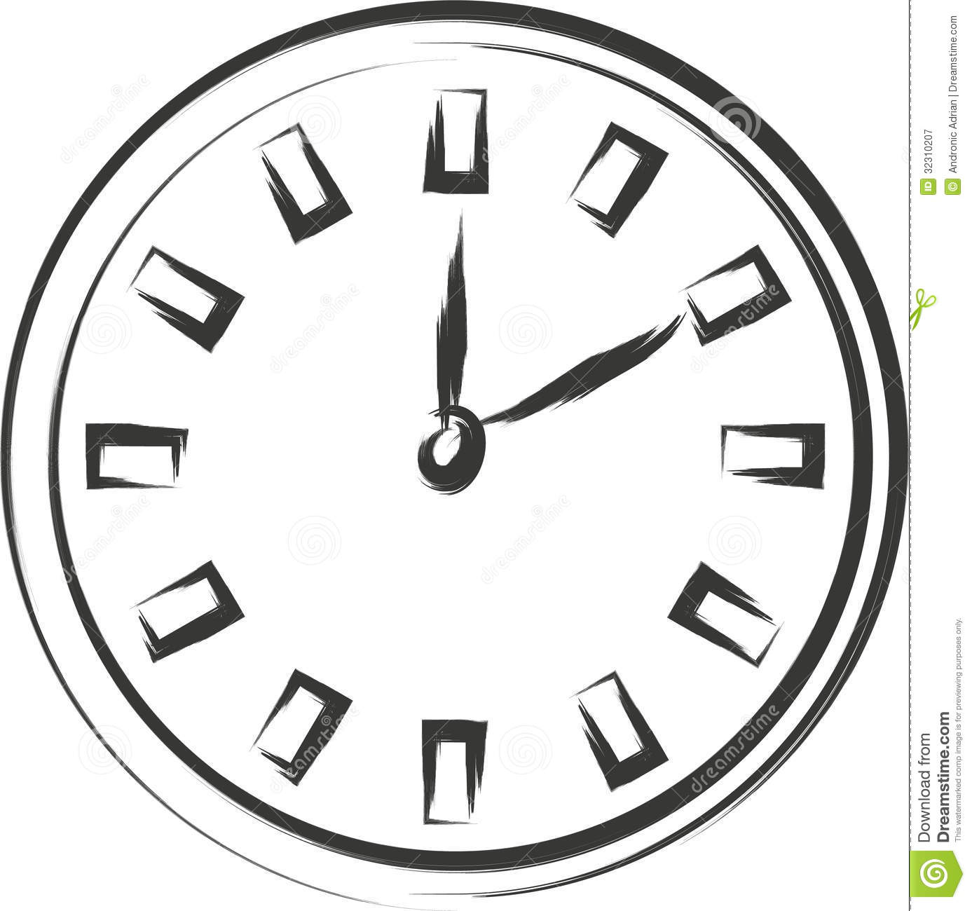 Clock Sketch Royalty Free Stock Photography
